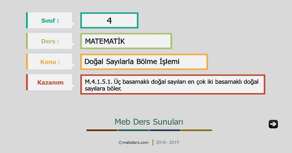 4.Sınıf Matematik Doğal Sayılarla Bölme İşlemi Sunusu