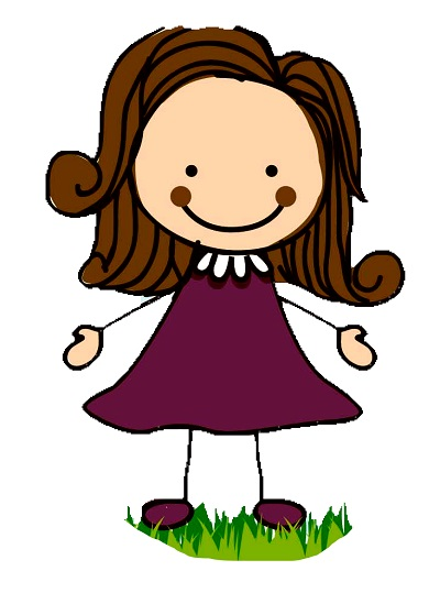 Clipart kabarık saçlı kollarını açmış kız çocuğu