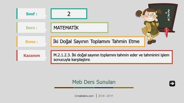 2.Sınıf Matematik İki Doğal Sayının Toplamını Tahmin Etme Sunusu
