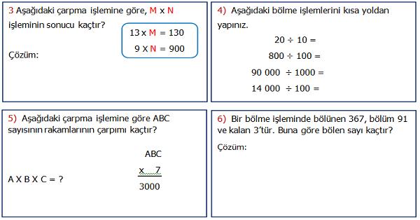 4.Sınıf Matematik 3.Ünite Değerlendirme Etkinliği