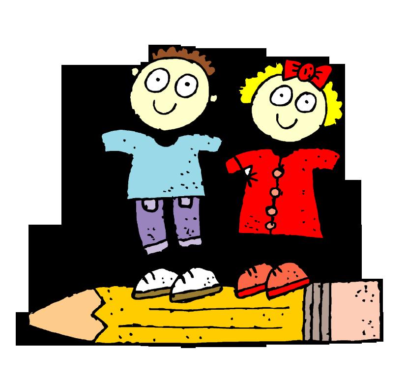 Clipart kalem üzerindeki çizgi çocuklar resmi png