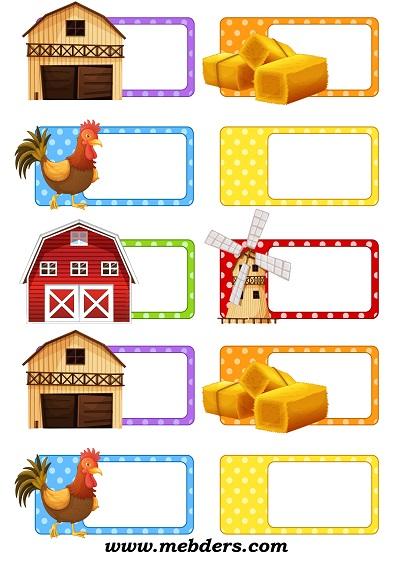 Çiftlik temalı yaka kartı
