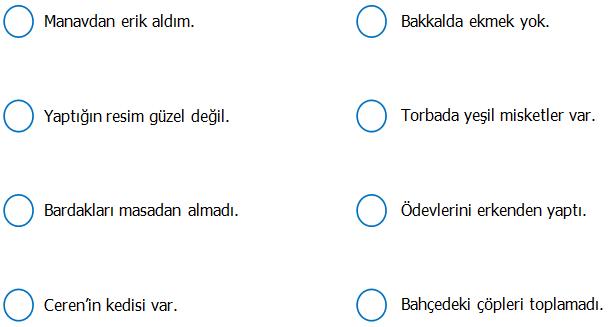 3.Sınıf Türkçe Olumlu ve Olumsuz Cümleler Etkinliği 2