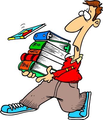 Clipart elinde kitaplarla yürüyen şaşkın adam png
