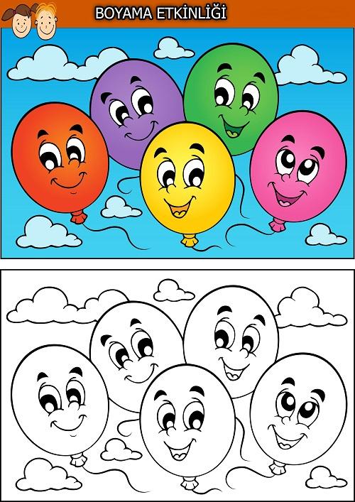Dört sevimli balon boyama etkinliği