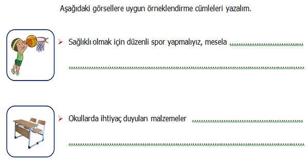 4.Sınıf Türkçe Örneklendirme Yapılan Cümleler Etkinliği