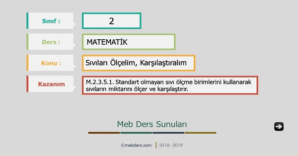 2.Sınıf Matematik Sıvıları Ölçelim, Karşılaştıralım Sunusu
