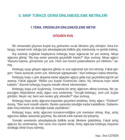 2018-2019 Yılı 3.Sınıf Türkçe SDR Yayıncılık Dinleme / İzleme Metinleri pdf