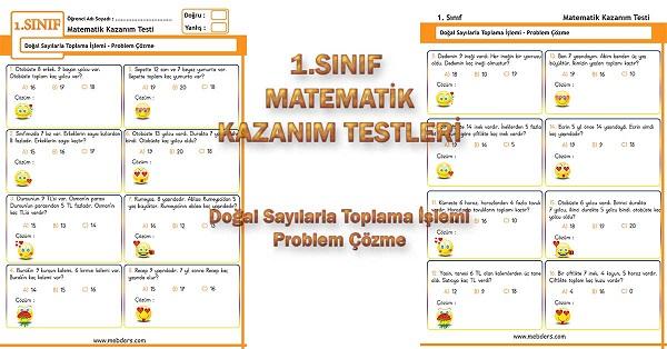 1.Sınıf Matematik Kazanım Testi - Toplama Problemleri