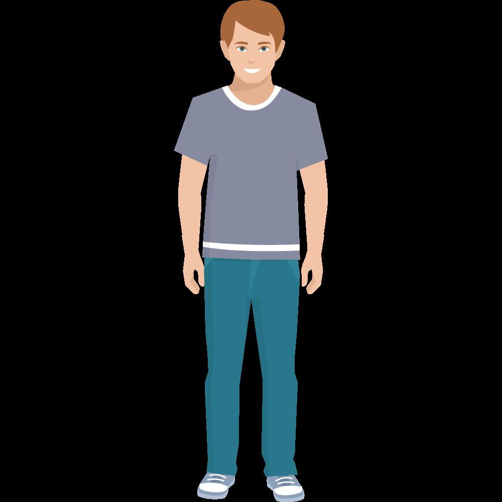 Clipart kısa kollu ayakta duran genç erkek resmi