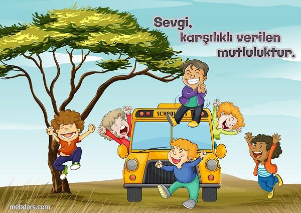 Sevgi değerler eğitimi için sevgi karşılıklı verilen mutluluktur afişi