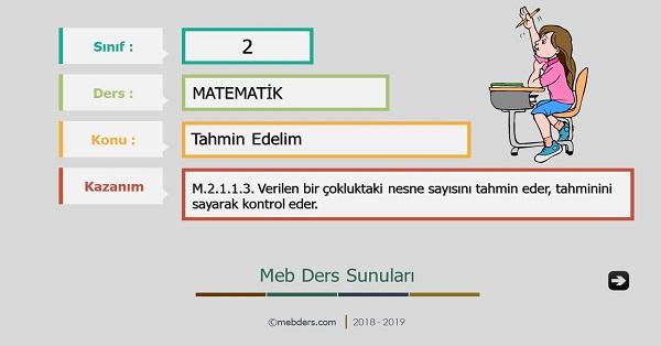 2.Sınıf Matematik Tahmin Edelim Sunusu