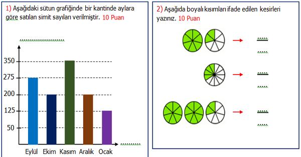 4.Sınıf Matematik 2.Dönem 1.Yazılı Sınavı (İkinci Dönem Ağırlıklı)