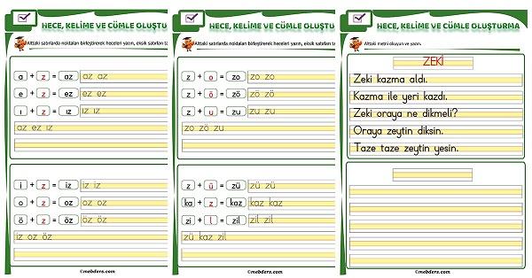 1.Sınıf İlk Okuma Z Sesi Birleştirme Etkinliği