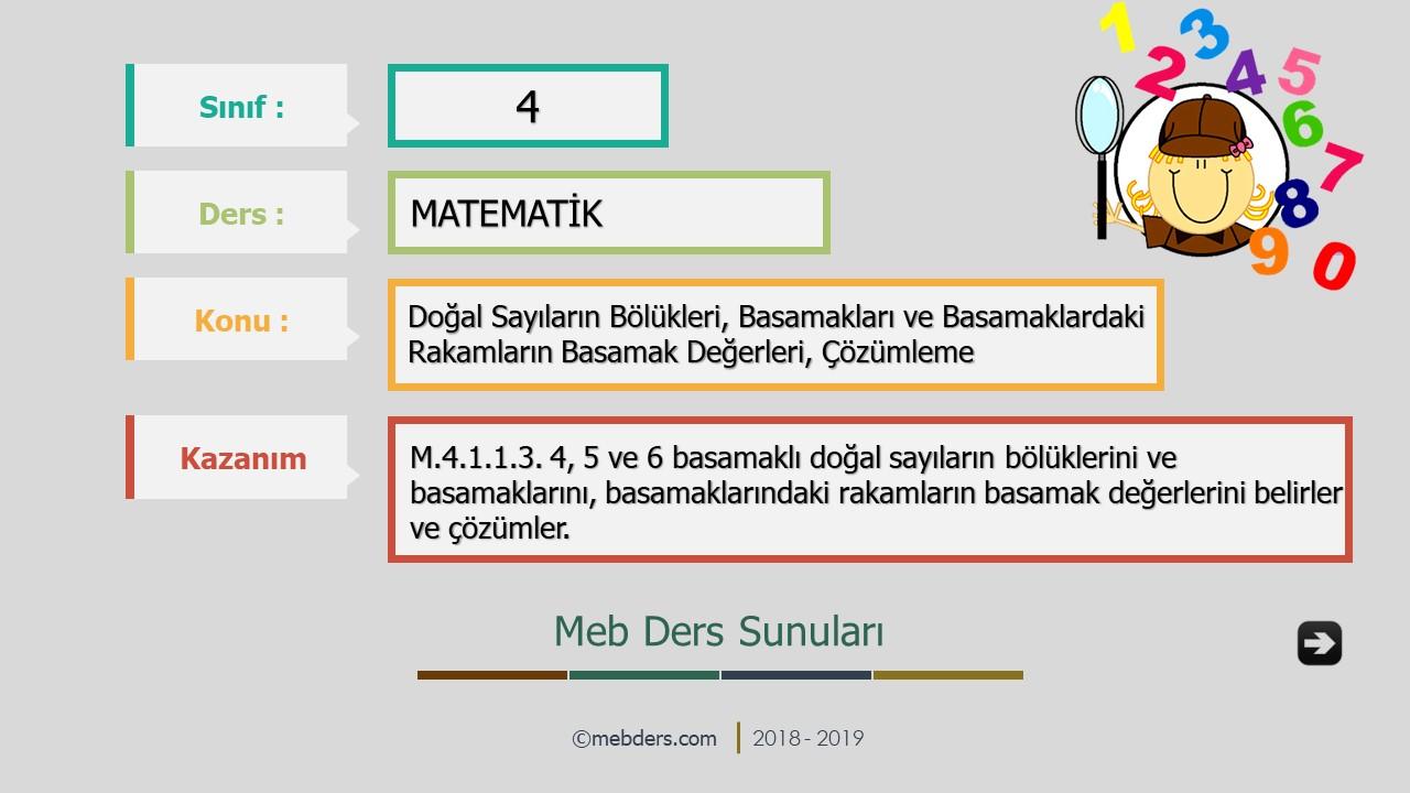 4.Sınıf Matematik Doğal Sayıların Bölükleri, Basamak Adları, Basamak Değerleri ve Çözümleme Sunusu