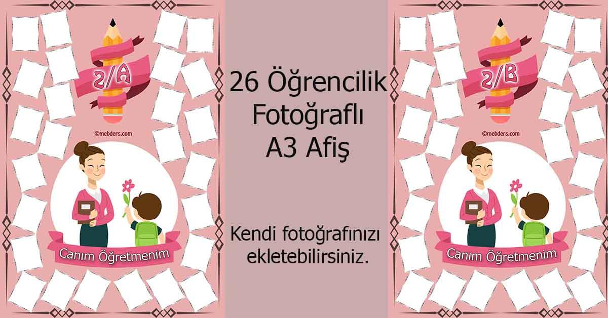 Fotoğraf eklemeli öğretmen ve öğrencilerine özel 2.sınıf afişleri