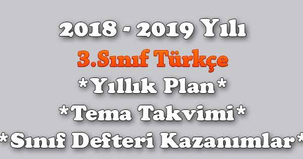 2018 - 2019 Yılı 3.Sınıf Türkçe Yıllık Plan, Ünite Süreleri, Sınıf Defteri Kazanım Listesi