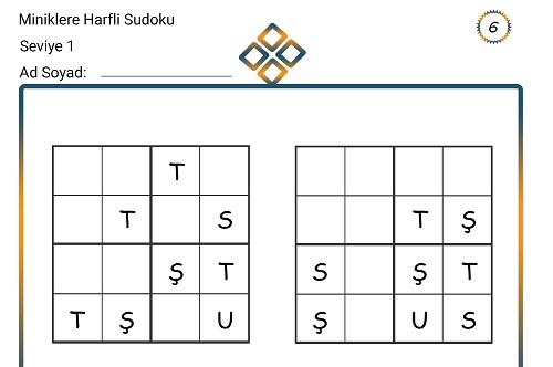 Miniklere Harfli Sudoku 6