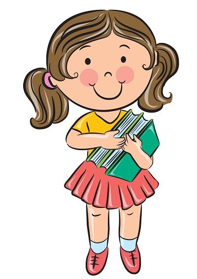 Clipart kucağında kitaplarla kız çocuğu resmi png