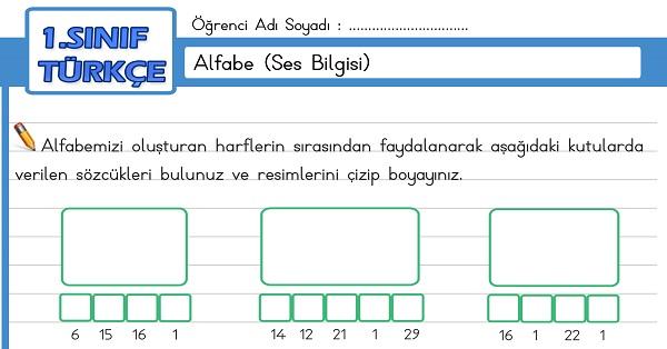 1.Sınıf Türkçe Alfabe - Ses Bilgisi Etkinliği