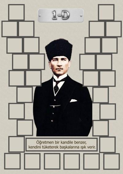 Model 15, 1D şubesi için Atatürk temalı, fotoğraf eklemeli kapı süslemesi - 32 öğrencilik