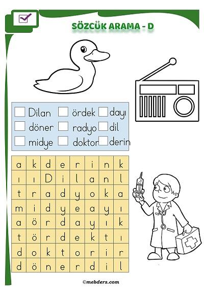 1.Sınıf İlkokuma Boyamalı Sözcük Arama Etkinliği - D Sesi