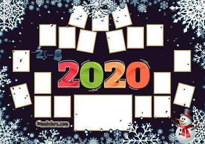 2B Sınıfı için 2020 Yeni Yıl Temalı Fotoğraflı Afiş (19 öğrencilik)
