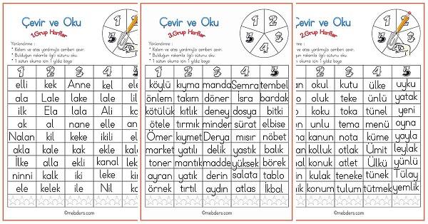 Çevir ve Oku Etkinliği - 3.Grup Harfler