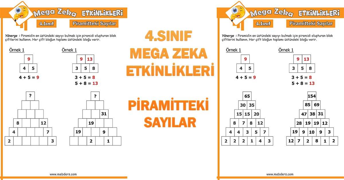 4.Sınıf Mega Zeka Etkinliği - Piramitteki Sayılar