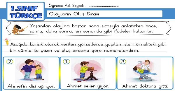 1.Sınıf Türkçe Olayların Oluş Sırası Etkinliği