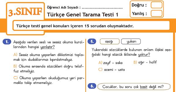 3.Sınıf Türkçe Genel Tarama Testi