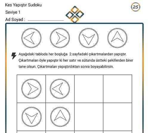 Kes Yapıştır Sudoku Etkinliği 25 (Seviye 1)