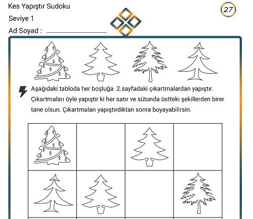 Kes Yapıştır Sudoku Etkinliği 27 (Seviye 1)