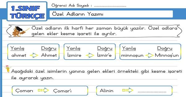 1.Sınıf Türkçe Özel Adların Yazımı Etkinliği