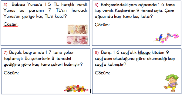 1.Sınıf Matematik Çıkarma İşlemi ile İlgili Problemler 1