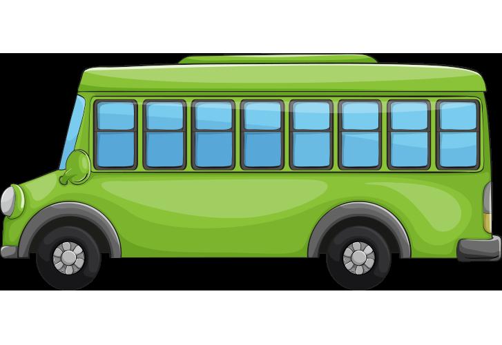 Yandan çekilmiş yeşil okul otobüsü resmi png