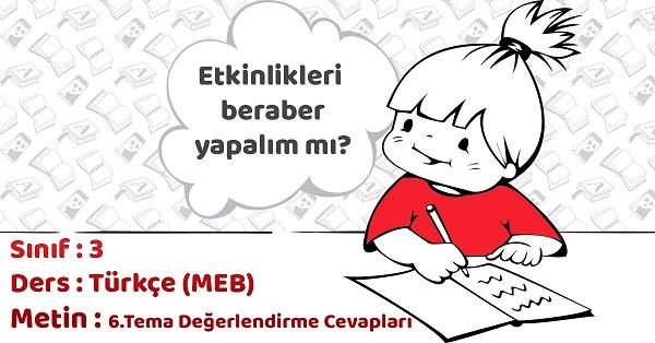 3.Sınıf Türkçe 6.Tema Değerlendirme Cevapları (MEB)