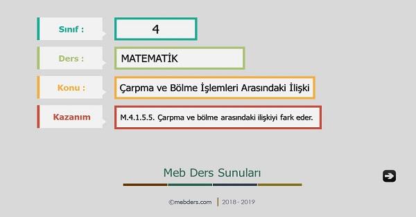 4.Sınıf Matematik Çarpma ve Bölme İşlemleri Arasındaki İlişki Sunusu