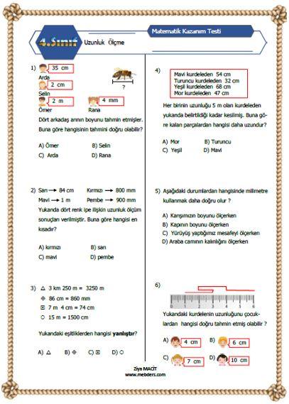 4. Sınıf Matematik Uzunluk Ölçme Kazanım Testi