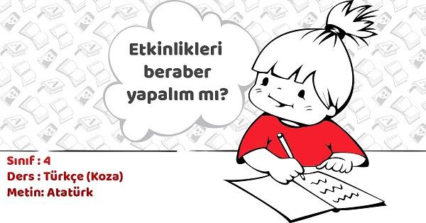 4.Sınıf Türkçe Atatürk Metni ve Tema Sonu Değerlendirme Cevapları