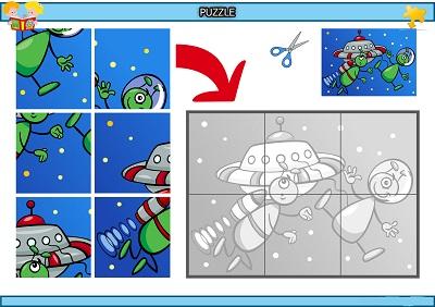 Kes yapıştır sevimli uzaylılar puzzle etkinlik