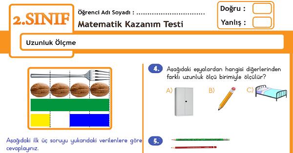 2.Sınıf Matematik Uzunluk Ölçme Kazanım Testi