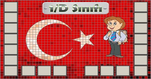 Model 54, 1D şubesi için Türk bayraklı fotoğraf eklemeli kapı süslemesi - 20 öğrencilik