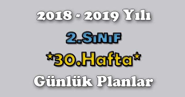 2018 - 2019 Yılı 2.Sınıf Tüm Dersler Günlük Plan - 30.Hafta