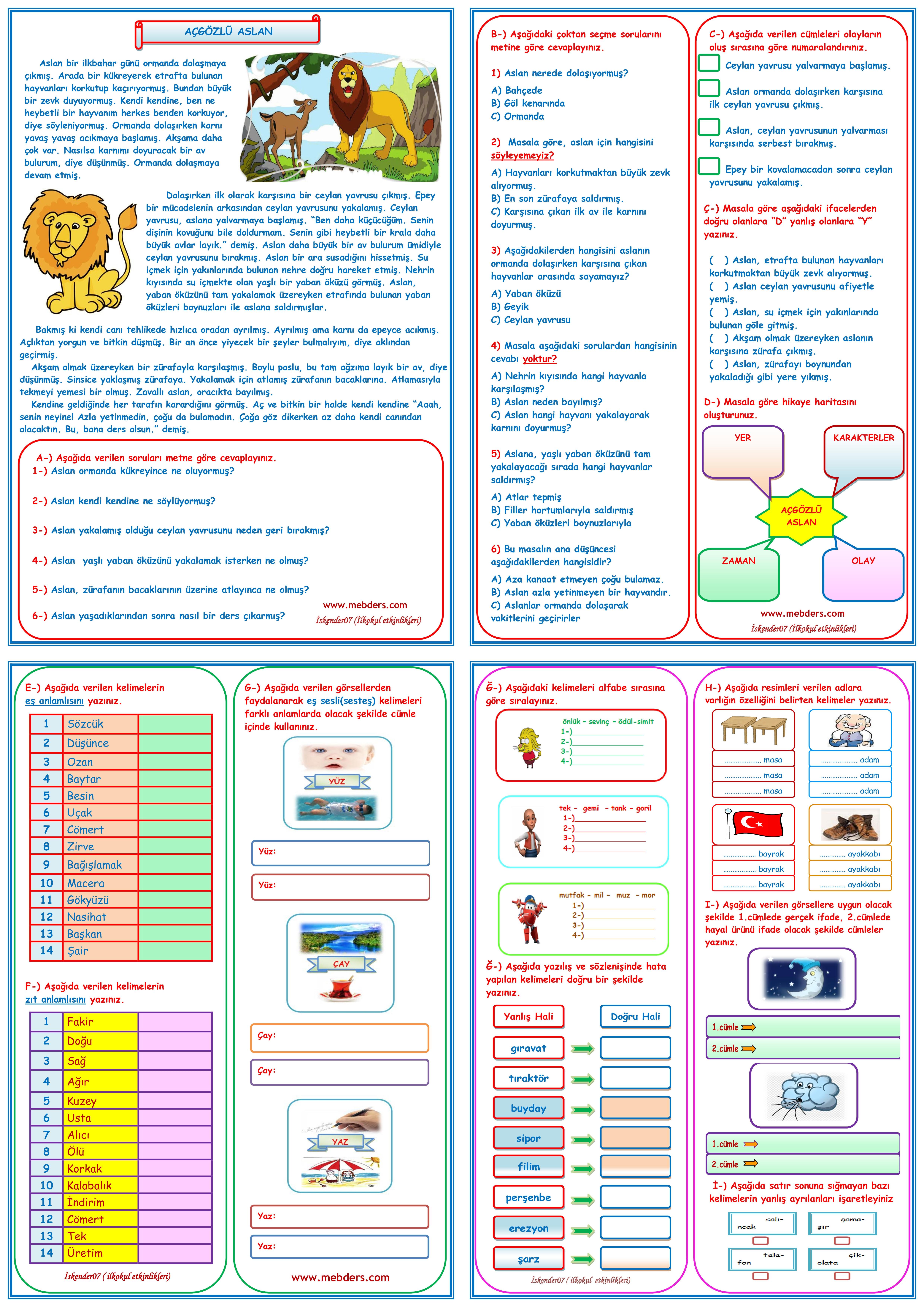 3.SINIF TÜRKÇE DERSİ TELAFİ EĞİTİMİ (4 SAYFA)