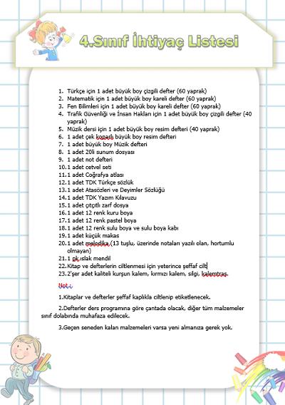 4.Sınıf Resimli İhtiyaç Listesi