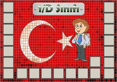 Model 54, 1D şubesi için Türk bayraklı fotoğraf eklemeli kapı süslemesi - 22 öğrencilik