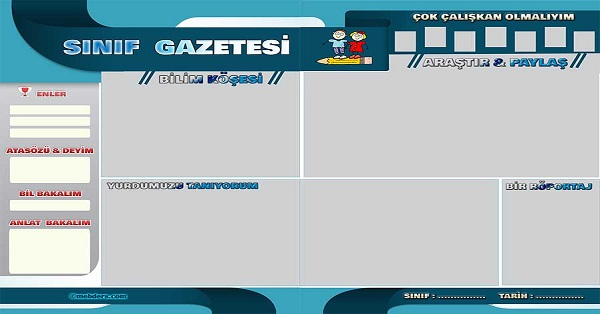 Okul, Sınıf Gazetesi Şablonu (2x50x70cm)