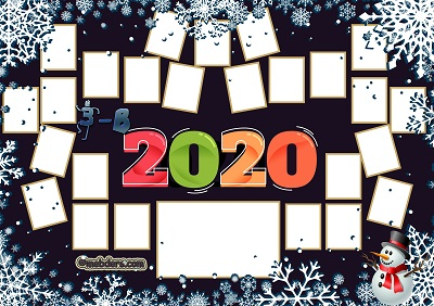 3B Sınıfı için 2020 Yeni Yıl Temalı Fotoğraflı Afiş (25 öğrencilik)