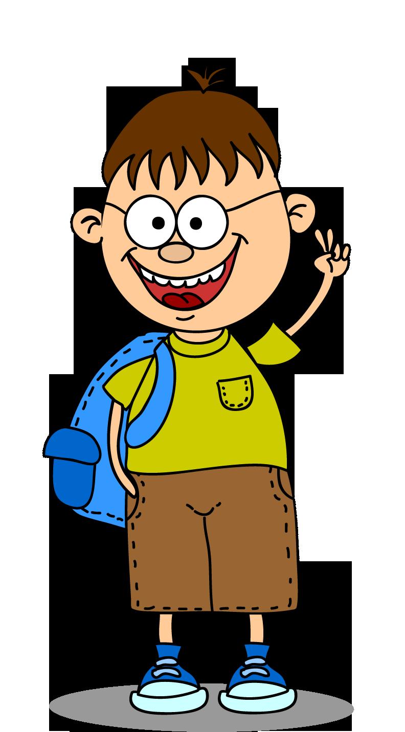 Clipart parmağı havada gözlüklü erkek çocuk resmi png